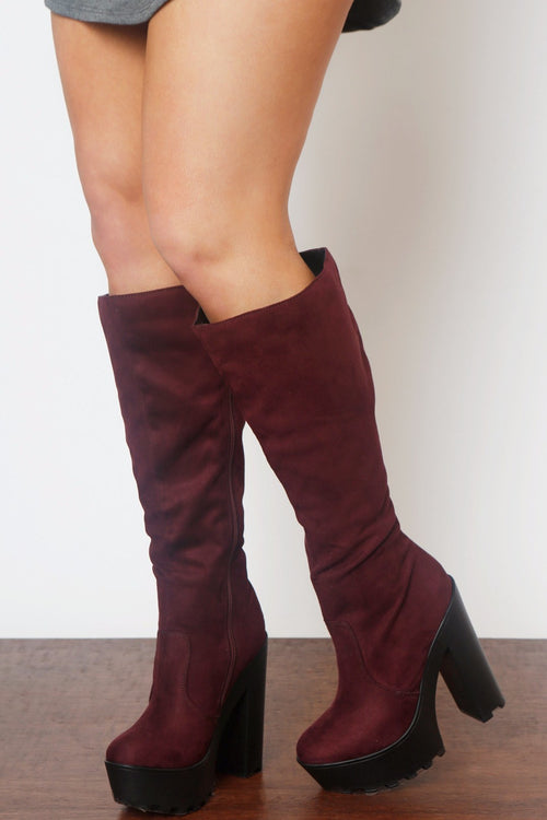 Hey Days Suede Burgundy Boots - Fashion Effect Store  - 1