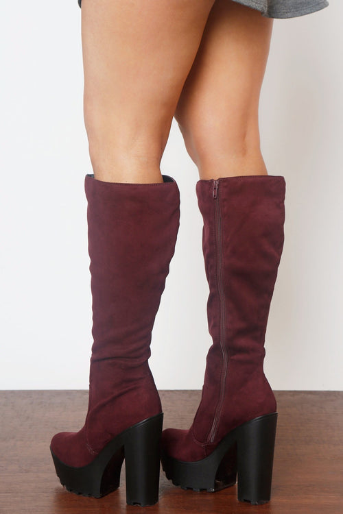 Hey Days Suede Burgundy Boots - Fashion Effect Store  - 2