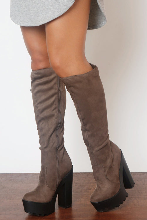 Hey Days Suede Taupe Boots - Fashion Effect Store  - 1