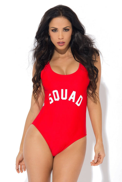 Squad Red One Piece Swimsuit
