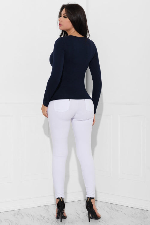 Sw - Cassandra Long Sleeve Top Navy Blue -RESTOCKED
