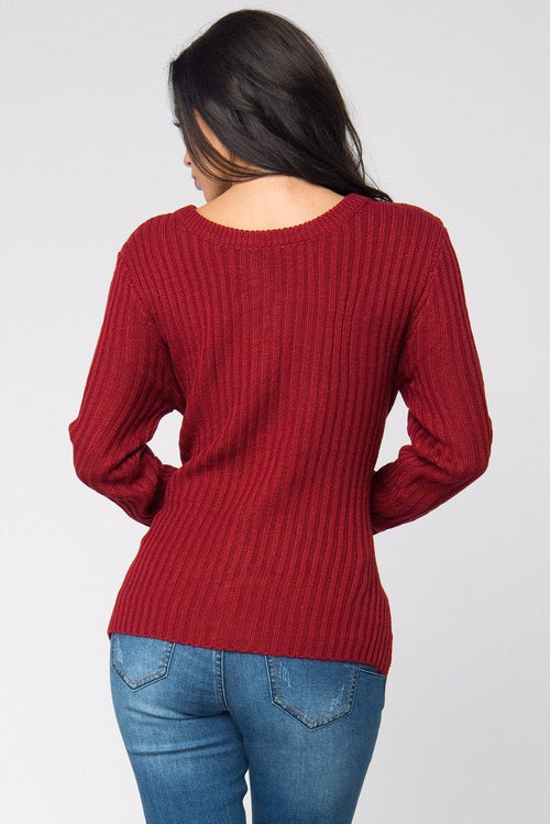 Sw - Getting Warm Burgundy Sweater
