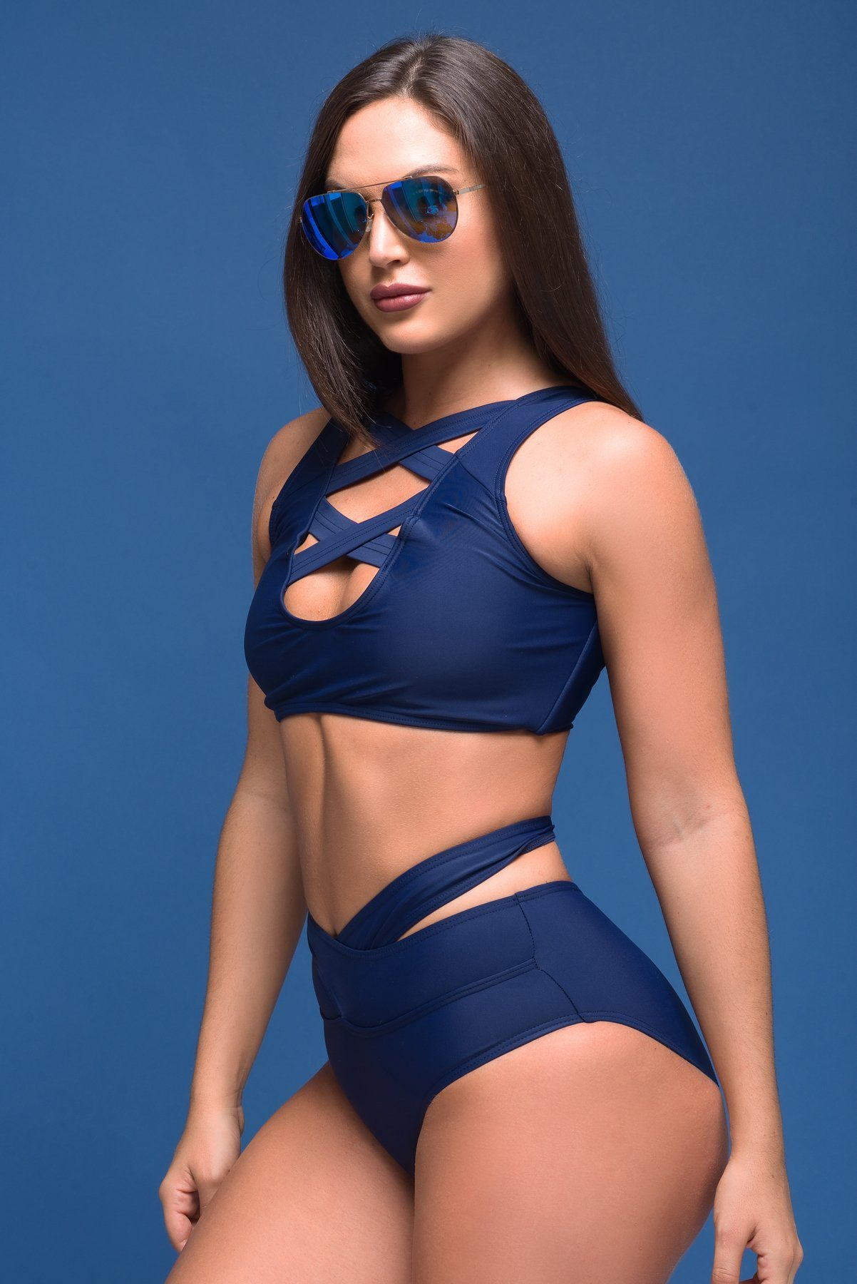 Swimwear - Sunny Bay Navy Swimsuit Two Pieces