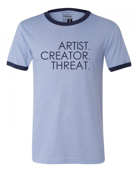 Artist. Creator. Threat. tee, blue/navy