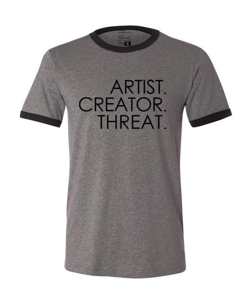 Artist. Creator. Threat. tee, grey/black