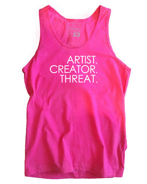 Load image into Gallery viewer, Artist. Creator. Threat. tank, fuchsia