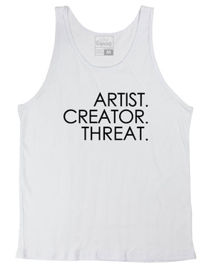 Load image into Gallery viewer, Artist. Creator. Threat. tank, white
