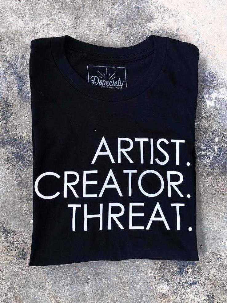 Load image into Gallery viewer, Artist. Creator. Threat. tee, black