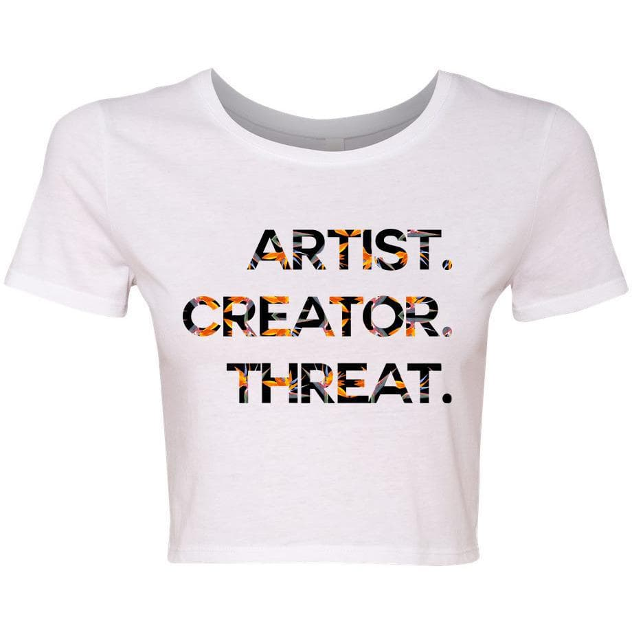 Artist. Creator. Threat. crop tee, white