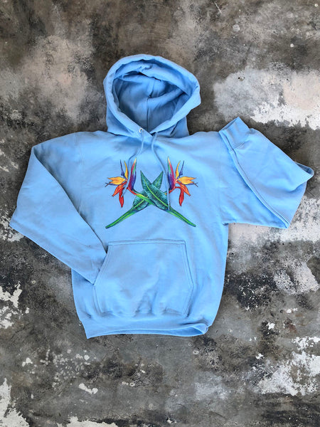 Bird of Paradise Hoodie, soft blue