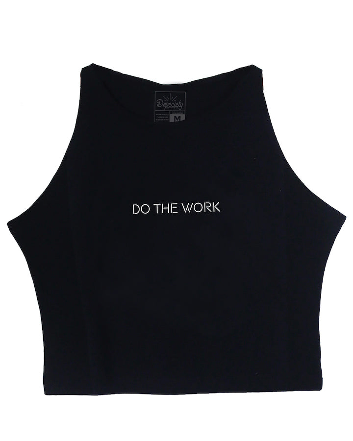 Do The Work crop tank, black