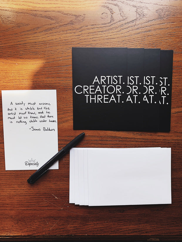 Note Card Pack with Envelopes - Artist.Creator.Threat. 1