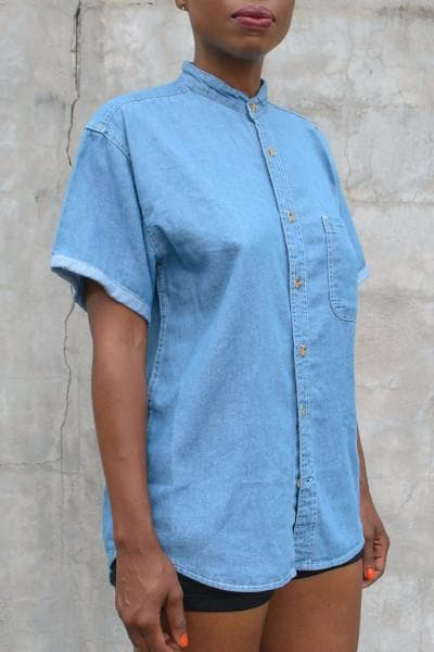 Spectre Denim Shirt, short sleeves - Dopeciety - 1