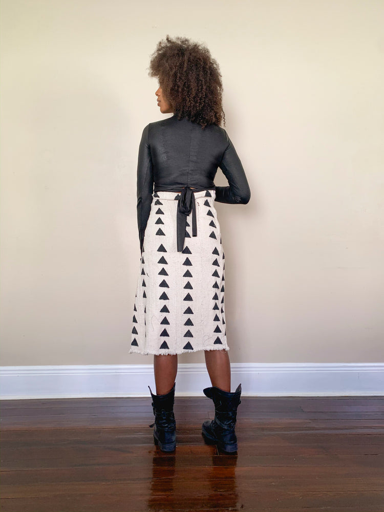 asymmetrical bògòlanfini skirt