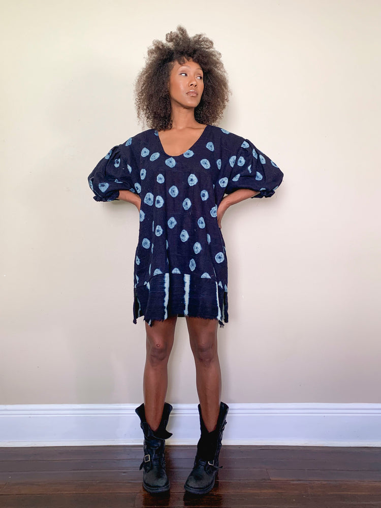 indigo shift dress with puff sleeves, hand-dyed
