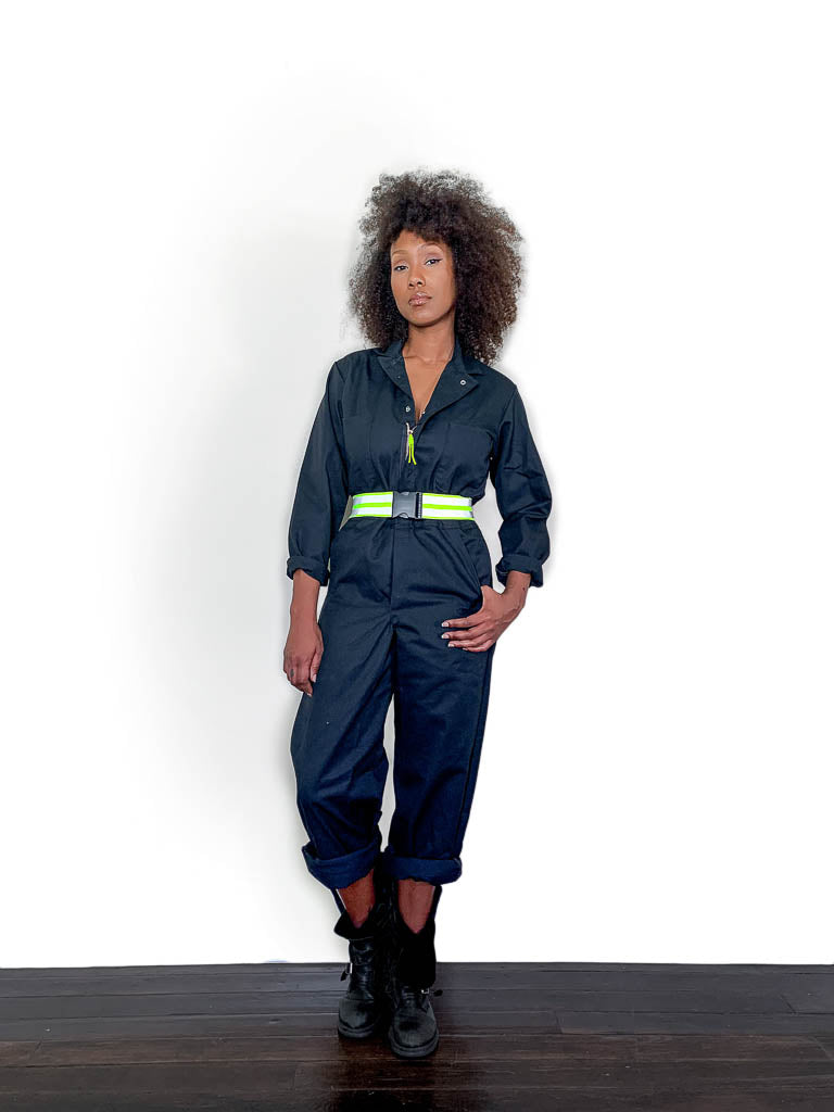 Work Suit Coverall with Belt, black
