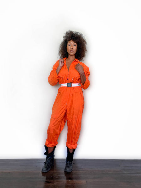 Flight Suit Coverall with Belt, orange