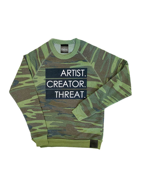 Artist.Creator.Threat. Eco-Fleece Sweatshirt, Camo