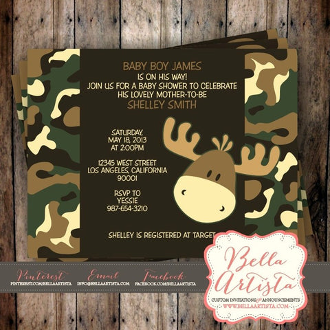 Camouflage & Moose Baby Shower Invitation, Camo Invite