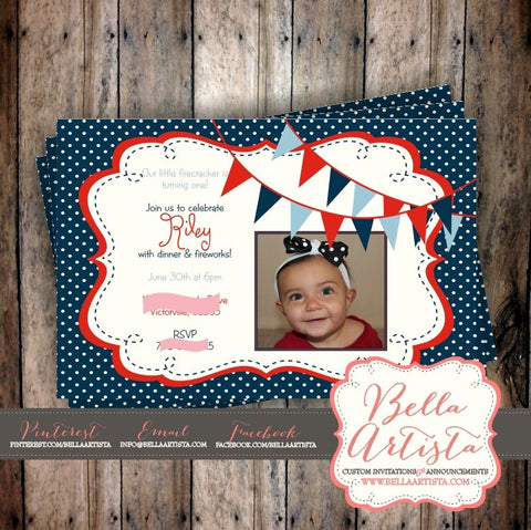 Americana, Independence Day Birthday Invitation, 4th of July Party Invite