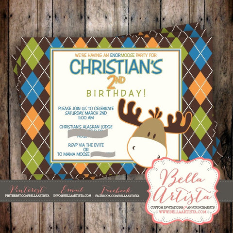 Argyle Moose Invitation, Birthday Invite