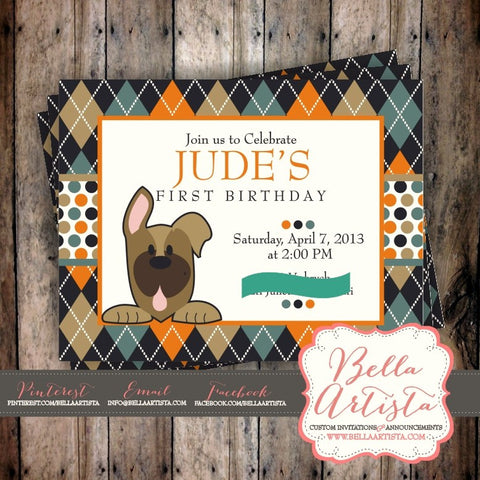 Argyle and Polka Dot German Shepherd Puppy Invitation, Dog themed Birthday Invite