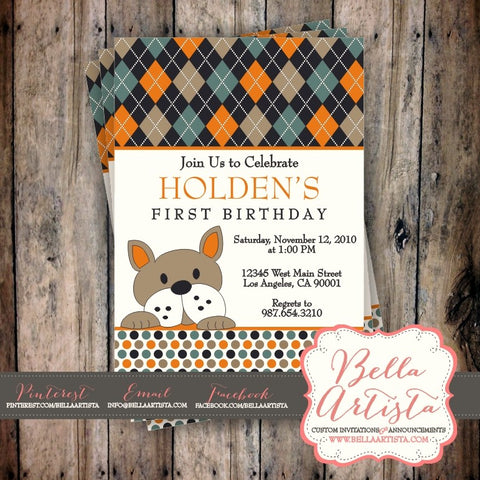 Argyle and Polka Dot French Bulldog Puppy Invitation, Frenchie Dog themed Birthday Invite