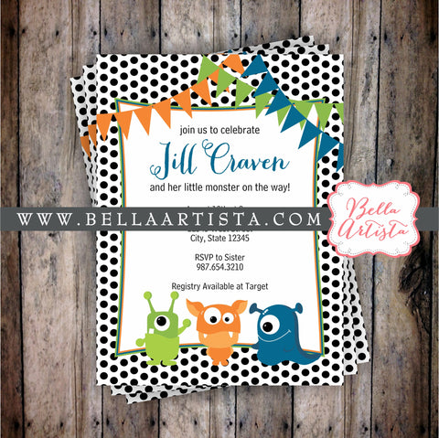 Cute Monster Baby Shower Invitation. Birthday Invite
