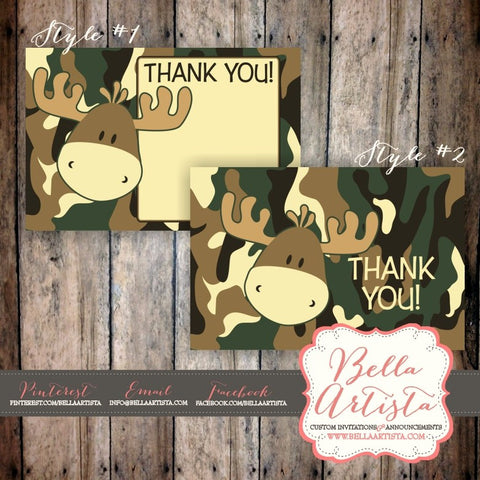 Camouflage & Moose Thank You Card Design