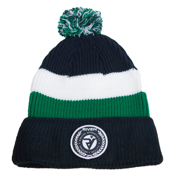 Riven Pom Pom Beanie (Navy, Green, and White)