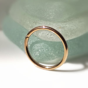 thin rose gold piecing hoop