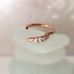 Rose gold diamonte earring piercing hoop