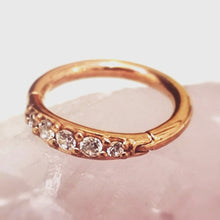 Load image into Gallery viewer, Rose gold crystal gem tragus ring