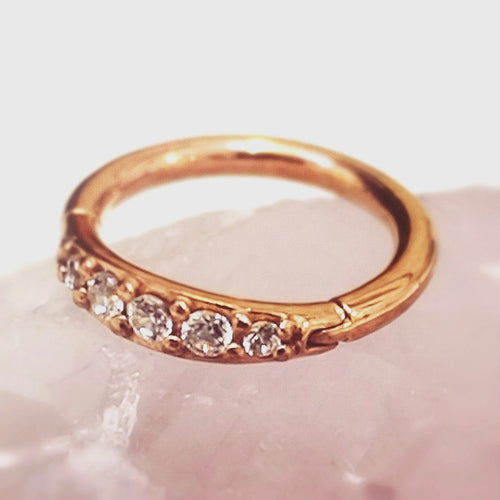 Rose gold crystal gem tragus ring