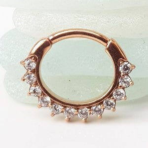 daith piecing ring rose gold diamonte
