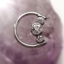 Load image into Gallery viewer, Daith moon ring with three crystals
