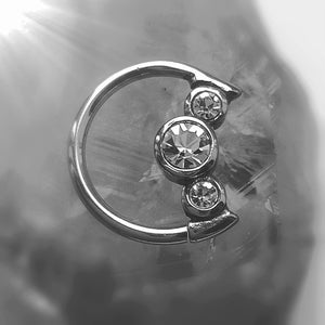 Daith moon ring with three crystals