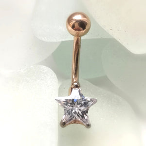 rose gold star navel belly bar