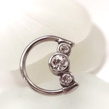 Load image into Gallery viewer, daith moon ring crystal earring