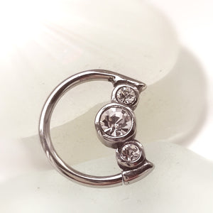 daith moon ring crystal earring