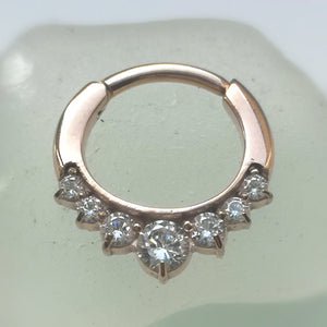 Septum ring with crystals - rose gold hinged 16g ring