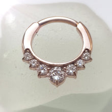 Load image into Gallery viewer, Septum ring with crystals - rose gold hinged 16g ring