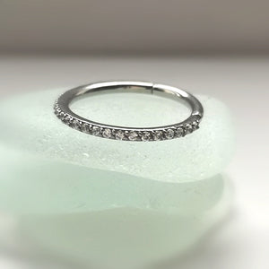 Jeweled conch ring - hinged pave set