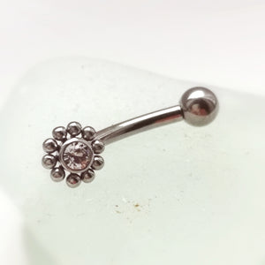 Titanium couture Rook piercing bar with crystal