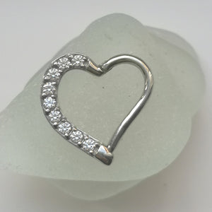 daith heart ring with gems