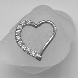 daith heart with diamonte