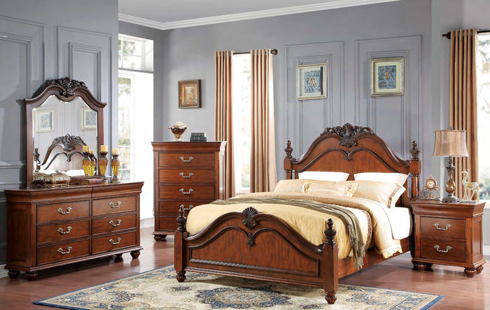 Sophia Bedroom  This classic, traditional bed features detailed molding, shell carving and heavy posts with carved finials and bun feet. The Louis Philipe inspired case pieces all feature hidden felt lined drawer storage with English dovetails.