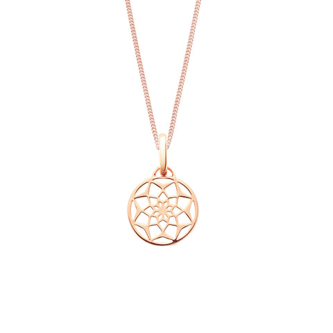 The original dreamcatcher necklace in rose gold vermeil on Sterling silver