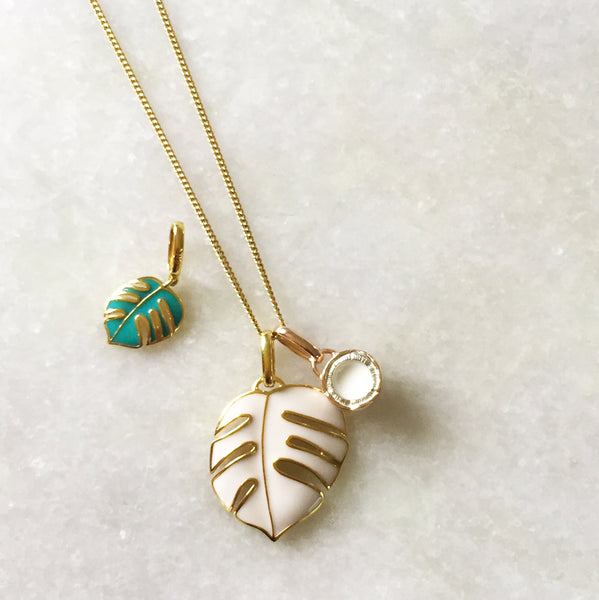 trio of charms necklace in yellow gold vermeil with two palm leaves & a rose gold coconut