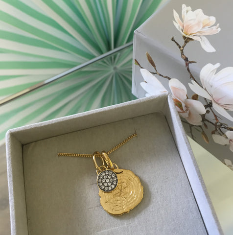 Silver oak slice & moon charm necklace with 18ct Gold Vermeil